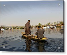 Cartoon - Kashmiri Men Plying A Wooden Boat In The Dal Lake In Srinagar Acrylic Print