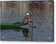 Cartoon - Man Plying A Wooden Boat On The Dal Lake Acrylic Print