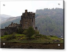 Cartoon - Structure Of The Eilean Donan Castle In Front With Dry Part Of Lake Acrylic Print