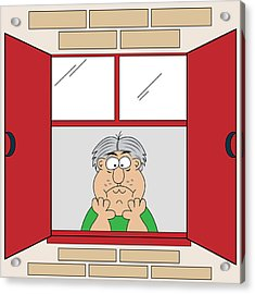 Cartoon Bored Old Man At Window Acrylic Print by Toots Hallam