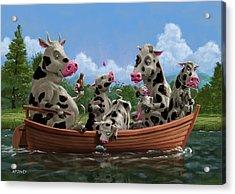Cartoon Cow Family On Boating Holiday Acrylic Print