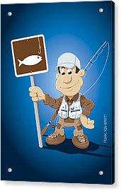 Cartoon Fisherman Fishing Sign Acrylic Print by Frank Ramspott
