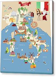 Cartoon Map Of Italy Acrylic Print by Drmakkoy
