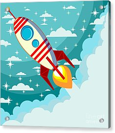 Cartoon Rocket Taking Off Against The Acrylic Print
