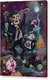 Cartoon Zombie Party Acrylic Print
