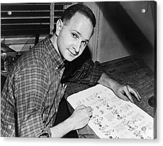 Cartoonist Jules Feiffer Acrylic Print by Dick DeMarsico