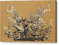 Carved Men Acrylic Print by Maria Arango Diener