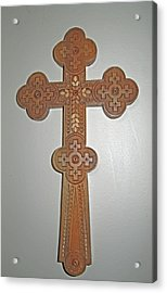 Carved Ukrainian Wooden Cross Acrylic Print by Barbara McDevitt