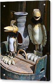 Carved Wooden Birds Acrylic Print by Linda Phelps