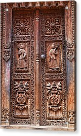 Carved Wooden Door At Bhaktapur In Nepal Acrylic Print by Robert Preston