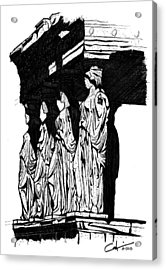 Acrylic Print featuring the drawing Caryatids In High Contrast by Calvin Durham