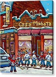 Casa Minhota Portuguese Cafe Art Go Habs Go Hockey Paintings Montreal Main Street Carole Spandau Acrylic Print by Carole Spandau