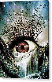 Cascade Crying Eye Acrylic Print by Marian Voicu