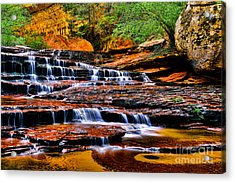 Cascade Falls Acrylic Print by Peter Dang