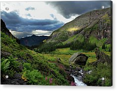 Cascade In Lower Ice Lake Basin Acrylic Print by A. V. Ley
