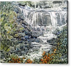 Cascade With A Touch Of Orange Acrylic Print
