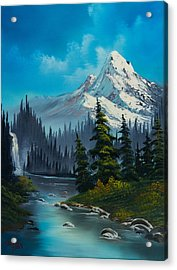 Cascading Falls Acrylic Print by C Steele