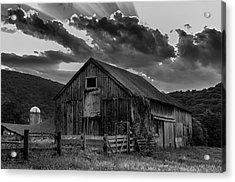 Casey's Barn-black And White  Acrylic Print by Thomas Schoeller