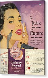 Cashmere Bouquet 1950 1950s Usa Makeup Acrylic Print by The Advertising Archives