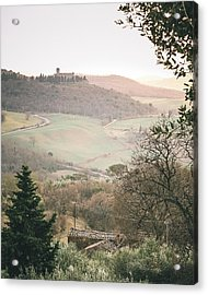 Castelmuzio Sunset Acrylic Print by Clint Brewer