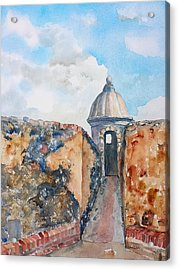 Castillo De San Cristobal Sentry Door Acrylic Print