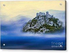 Castle In The Air V. - Strecno Castle Acrylic Print by Martin Dzurjanik