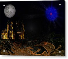 Castle In The Night Acrylic Print by Ramon Martinez