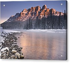 Castle Mountain And The Bow River Acrylic Print