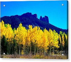 Autumn Castle Rock Aspens Acrylic Print