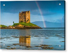 Castle Stalker Rainbow Acrylic Print by David Ross