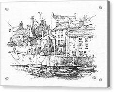 Acrylic Print featuring the drawing Castletown Harbour by Paul Davenport