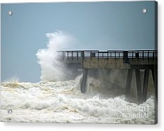 0828 Cat 1 Hurricane Isaac Crashes Into Navarre Beach Pier Acrylic Print by Jeff at JSJ Photography