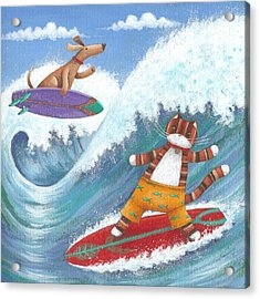 Cat And Dog Surfing Acrylic Print by Peter Adderley