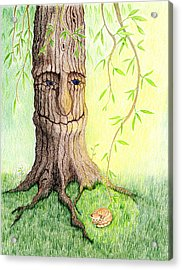 Cat And Great Mother Tree Acrylic Print by Keiko Katsuta