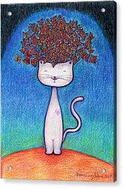 Cat And Monarcas Acrylic Print by Daniel Levy policar