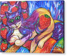 Acrylic Print featuring the painting Cat And Strawberries by Dianne  Connolly