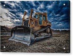 Cat Bulldozer Acrylic Print by Mike Burgquist