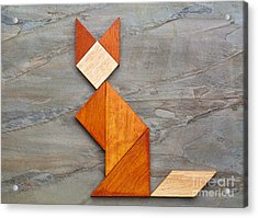 Cat Figure - Tangram Abstract Acrylic Print