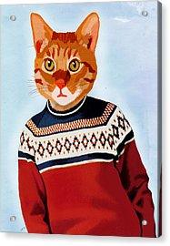 Cat In A Ski Jumper Acrylic Print by Kelly McLaughlan