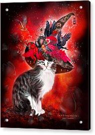 Cat In Fancy Witch Hat 1 Acrylic Print by Carol Cavalaris