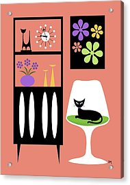 Cat In Pink Room Acrylic Print by Donna Mibus