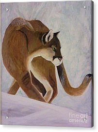 Acrylic Print featuring the painting Cat In Snow by Christy Saunders Church