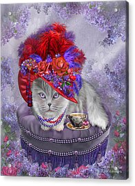 Cat In The Red Hat Acrylic Print by Carol Cavalaris