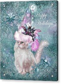 Acrylic Print featuring the mixed media Cat In The Snowflake Santa Hat by Carol Cavalaris