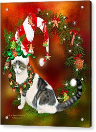 Cat In Xmas Cookie Hat Acrylic Print by Carol Cavalaris