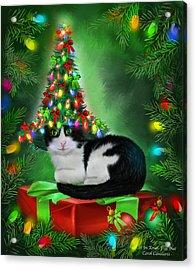Acrylic Print featuring the mixed media Cat In Xmas Tree Hat by Carol Cavalaris