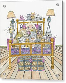 Cat Lady - In Bed Acrylic Print