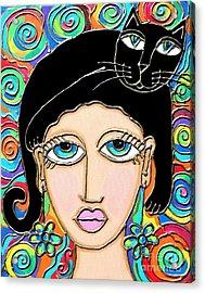 Cat Lady With Black Hair Acrylic Print