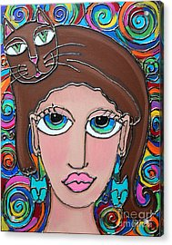 Cat Lady With Brown Hair Acrylic Print by Cynthia Snyder
