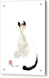 Cat Little Kittlen Syjamese White Cappuccino Black Grey Brown Meow Watercolor Painting Acrylic Print
